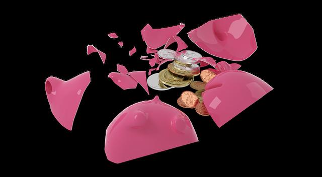 rozbité prasátko, mince